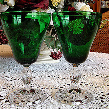 Vintage 1950s Fostoria Glass Colonial Dame GREEN Glass 2 Water Goblets Glasses