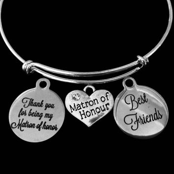 Matron of Honor Best Friends Adjustable Bracelet Expandable Silver Wire Bangle Wedding Shower Bridal Trendy Proposal One Size Fits All Gift