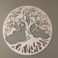 Silver Round Tree of Life industrial metal wall art