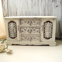 Ornate Large Jewelry Box, Antique White Wooden Vintage Jewelry Holder, Shabby Chic Distressed Music Box, Gift Ideas