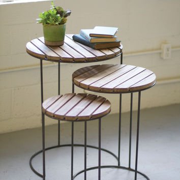 Set of 3 Nesting Round Tables- Raw Metal with Wooden Tops