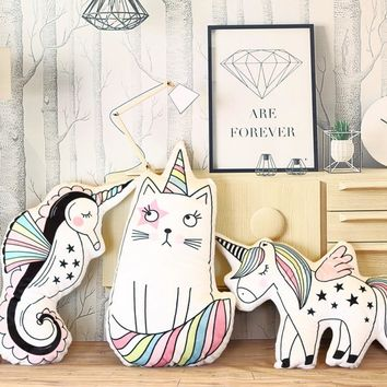 cute unicorn pillow stuffed plush unicorn toy animal cushion kids toy cat hippocampus pillow for children birthday gift for girl