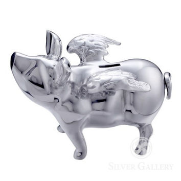 Pigs do Fly Silver Piggy Bank