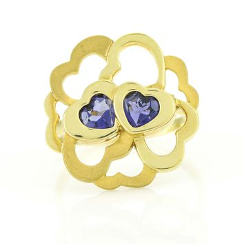 Carrera y Carrera Iolite Hearts Ring in 18k Yellow Gold Size 6.75