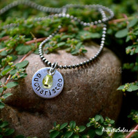 Tiny, Custom Metal Stamped Eucharisteo Necklace by Artistic Soles