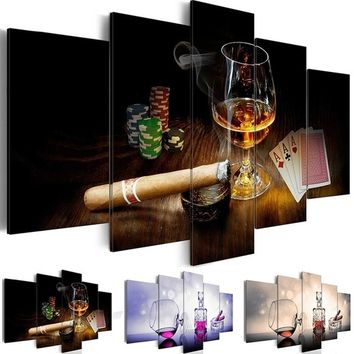 Unframed 5 Piece/set Cigarette and Whiskey Picture Canvas Art Print Oil Painting Wall Pictures for Living Room Paintings Bar Dec