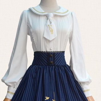 Lolita White Shirt Preppy Style Peter Pan Collar Chiffon Embroidery Long Sleeve Lady Tops Princess Blouses for Women Top Quality