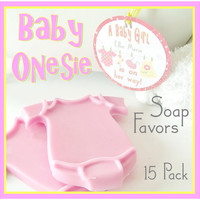 15 PINK GIRL Onesuit Baby Shower Soap Favor Pack - personalized, custom gift tag, scented, baby girl, gift wrapped, bib, yellow, green