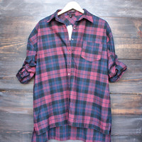 oversize flannel shirt dress in red