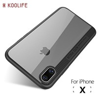 For iPhone X Case Luxury TPU+Acrylic Transparent Back Cover for Apple iPhoneX Cases KOOLIFE Brand Phone Case for iPhone 10 Cover