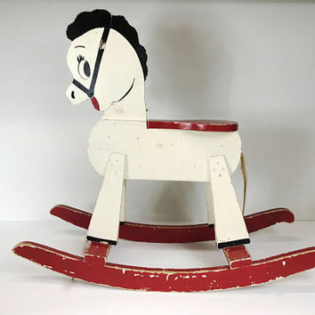 Vintage Wooden Rocking Horse Painted White Black Red Aged Distressed Vintage Toy Vintage Child's Horse Kid's Room Decor Distressed Decor