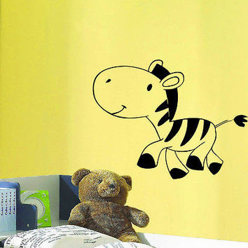 WALL DECAL VINYL STICKER ANIMAL ZEBRA BABY ROOM NURSERY DECOR SB872