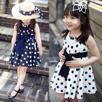 2014 Summer Girl Party Dress Polka Dot Bowknot Sleeveless Princess Party Dresses for 3T-10T Kids Wear 19859|28001 Children's Clothing = 1651105156
