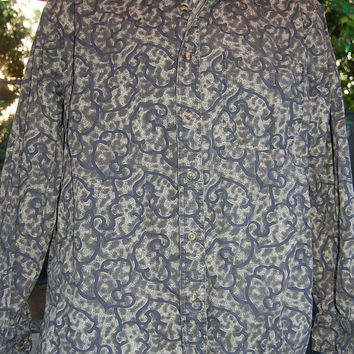 Vintage 90s Roundtree & Yorke Long Sleeve Gray Ethnic Abstract Tribal Batik Graphic Print Shirt Size Mens Medium
