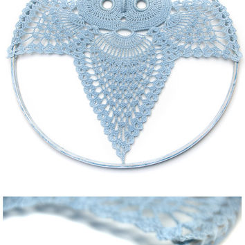 Large Blue Owl Shabby Chic crochet owl nursery decor crochet dreamcatcher owl dream catcher wall hanging wall decor