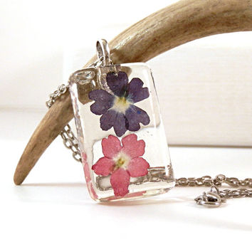 Resin Pendant Purple Red Real Flower Necklace - Purple Red Flower Pendant - Real Flower Pendant - Real Plant Resin Pendant  Natural Jewelry