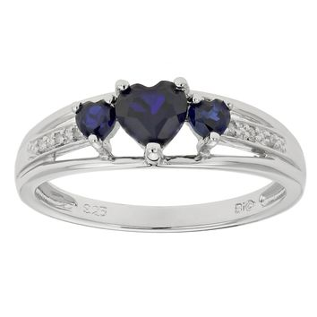 .90 Ct Triple Heart Blue Sapphire and .018 cttw Diamond 10K White Gold Ring