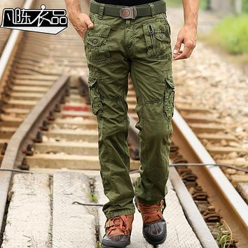 Fanchenyipin Brand Mens Multi Pocket Trousers Loose Cotton Army Military Tactical camo Uniform Pants Cargo Pant For Men no belt