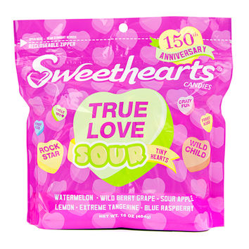 Necco Sour Sweethearts Candy Hearts: 1LB Bag