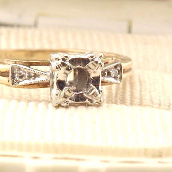 Vintage Diamond Ring Mount Setting - 1940's/ 14K Gold