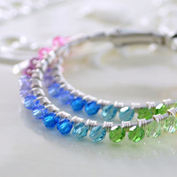 Bright Rainbow Jewelry, Colorful Swarovski Crystal Hoops, Silver Plated Wire Wrapped Earrings