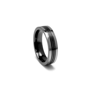 Titanium Band Ring with Grey Frame