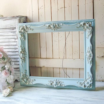 French Blue Ornate Frame, Dusty  Blue Large Open Vintage Picture Frame, Blue and Gold Frame, Nursery Frame, Beach Cottage Blue Frame