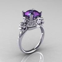 Modern Vintage 14K White Gold 2.5 Carat Alexandrite Diamond Wedding, Engagement Ring R167-14KWGDAL
