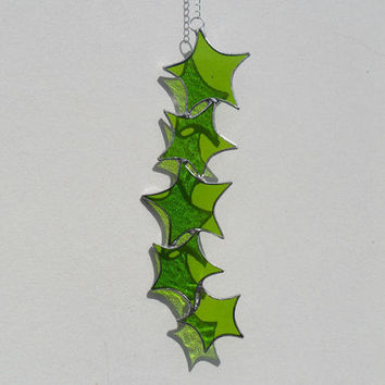 Lime Green Star Cascade Suncatcher, Stained Glass Suncatcher