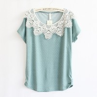 Crochet Stitching Bat Sleeve T-Shirt (green)