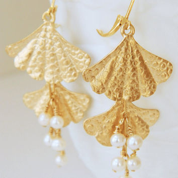 Gold Fan and White Pearl Dangle Earrings Handcrafted Short Unique