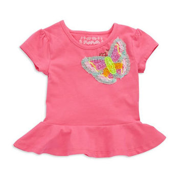 Flapdoodles Girls 2-6x Butterfly Peplum Top