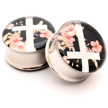 Vintage Floral Cross Picture Plugs gauges - 2g, 0g, 00g, 7/16, 1/2, 9/16, 5/8, 3/4, 7/8, 1 inch