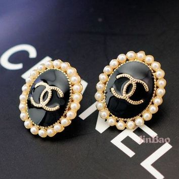 ONETOW Chanel Women Fashion CC Logo Stud Earring Jewelry