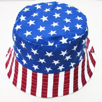 Free Shipping 2017 New Fashion Men Summer Blue Star Stripe American Flag Print Denim Bucket Hats USA Flag Caps
