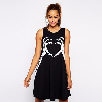 Women Sleeveless summer punk Style finger skull print Long loose T shirts Dress