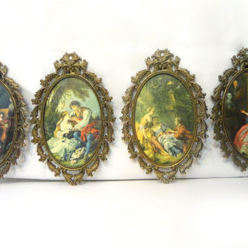 4 Vintage Ornate Oval Brass Framed Prints, Made in Italy, FR2 BIS, Italian Brass, Wall Hanging Frame, Antique Frame, Victorian, Home Decor