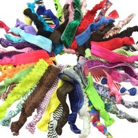 20pc Lace Printed Glitter Solid Assorted No Crease Hair Ties [Misc.]