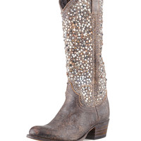 Deborah Studded Vintage Leather Boot, Gray - Frye