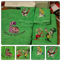Alice in Wonderland inspired 4 piece embroidered bath towel set