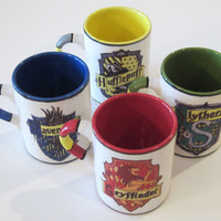 Harry Potter Inspired Hogwarts House Crest Mug Set 16 oz.