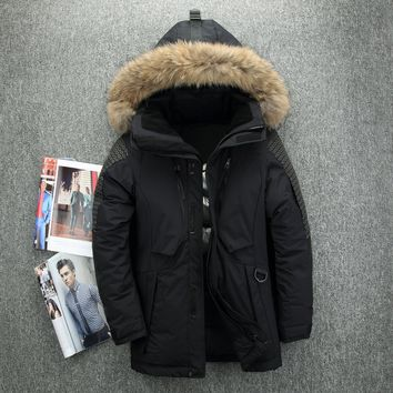 Man Thick White Down Jacket Men 2017 Winter With Hood Detached Warm Waterproof Big Fur Collar For -35 degrees