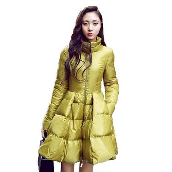 2016 New Fashion Women Winter Down Jackets Warm Long Slim Coat And Jacket Female Big Swing Yellow/black Ladies Snow Outwear