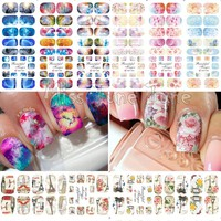 1PCS Full Cover Galaxy Flower Floral Nail Art Water Stickers Water Transfer Nail Decals Finger Toe Tips 3 Different Patterns