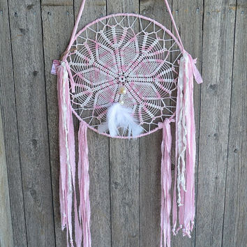 ORIGINAL ooak Large Shabby Gypsy Dreamer, Hippie, Gypsy, Boho, Cowgirl, Native, Prairie, Vintage Lace Dreamcatcher feathers, beads, shells