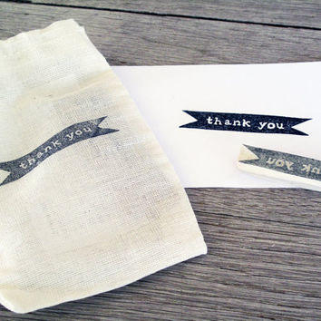 Thank You Rubber Stamp Hand Carved by LetterKay on Etsy