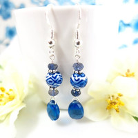 Blue quartz chinese ceramic dangle earrings, blue Chinese ceramic dangle earrings