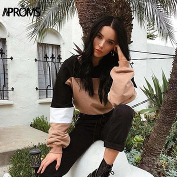 Aproms Black Khaki Color Block Sweatshirt Women Cropped Hoodies Casual Drawstring Waist Pullover Cool Girls Streetwear Crop Tops