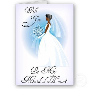African American Be My Maid of Honor Invitation Cards from Zazzle.com