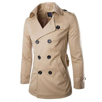 2015 New Fashion Trench Coat Men Slim Fit Winter Autumn Solid Epaulet Windbreaker Short Casual Jacket Overcoat 13M0381